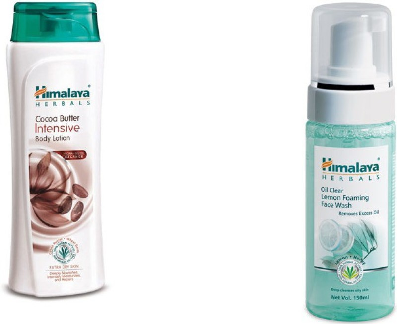 Himalaya coca butter intensive body lotion, oil clear lemon foaming face wash(2 Items in the set)