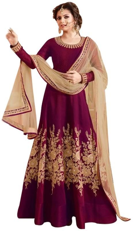 Fashion Basket Silk Embroidered Semi-stitched Salwar Suit Dupatta Material