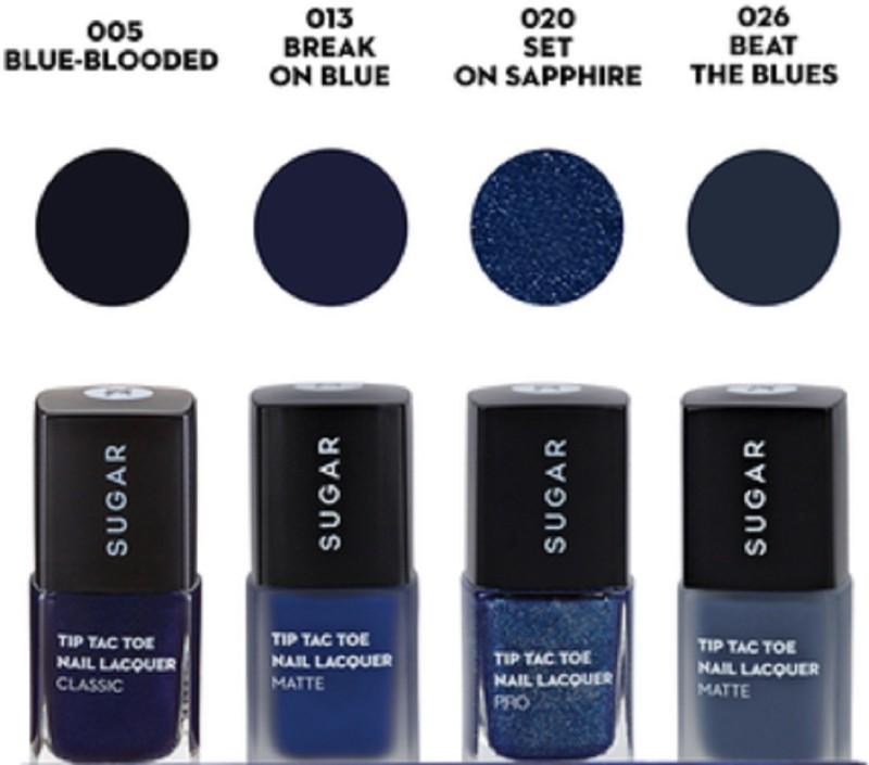Sugar TIP TAC TOE BLUE IS THE NEW BLACK NAIL LACQUER BLUE, MATTE BLUE, GLITTERI BLUE, MATTE DARK BLUE(40 ml, Pack of 4)
