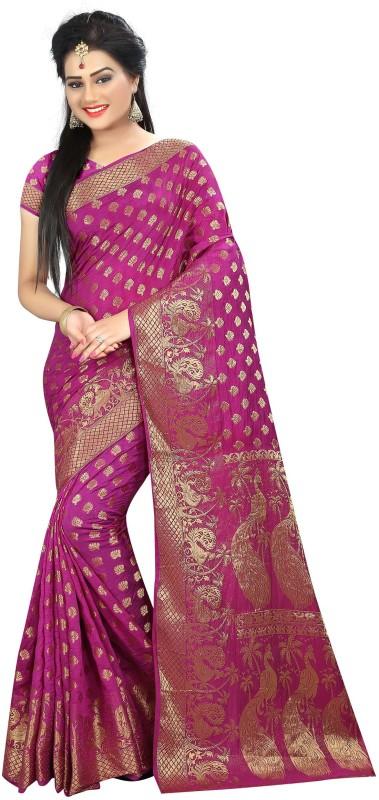 Hinayat Fashion Self Design Patola Banarasi Silk Saree(Pink)