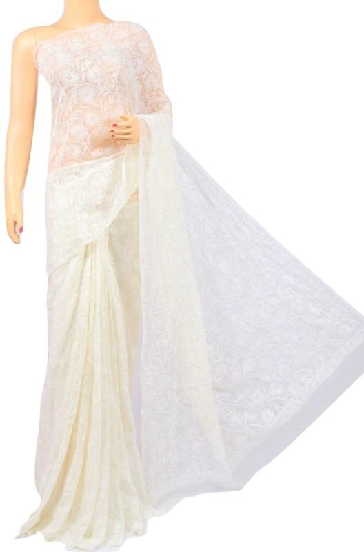 p creations Embroidered Lucknow Chikankari Kota Cotton Saree(White)