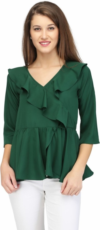 KARMIC VISION Casual 3/4th Sleeve Printed Women's Green Top