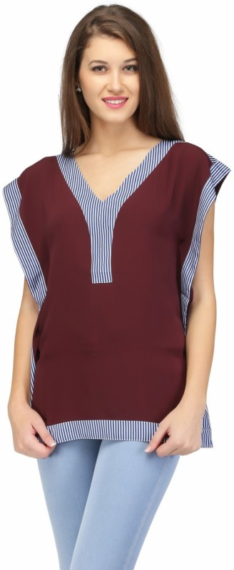 KARMIC VISION Casual Sleeveless Solid Women's Brown Top