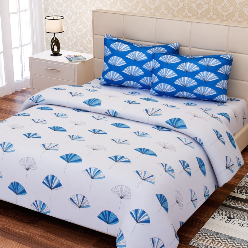 SEJ by Nisha Gupta 144 TC Cotton Double Abstract Bedsheet(Pack of 1, Blue)
