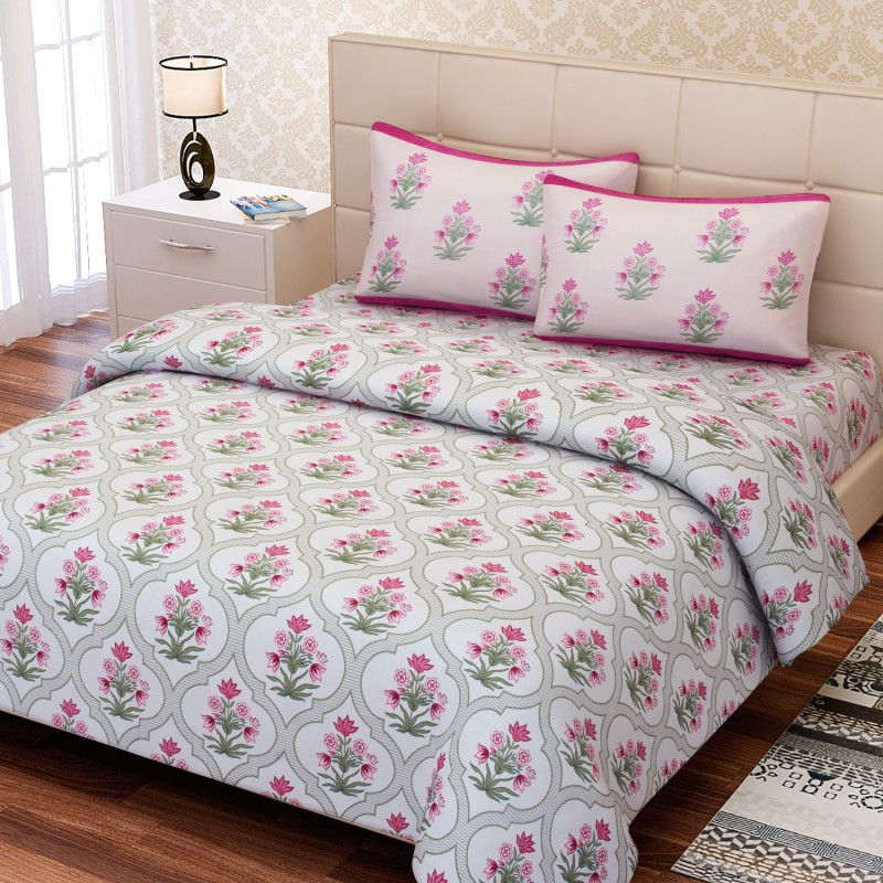 SEJ by Nisha Gupta 180 TC Cotton Double King Floral Bedsheet(1 Bedsheet, 2 Pillow Covers, Green)
