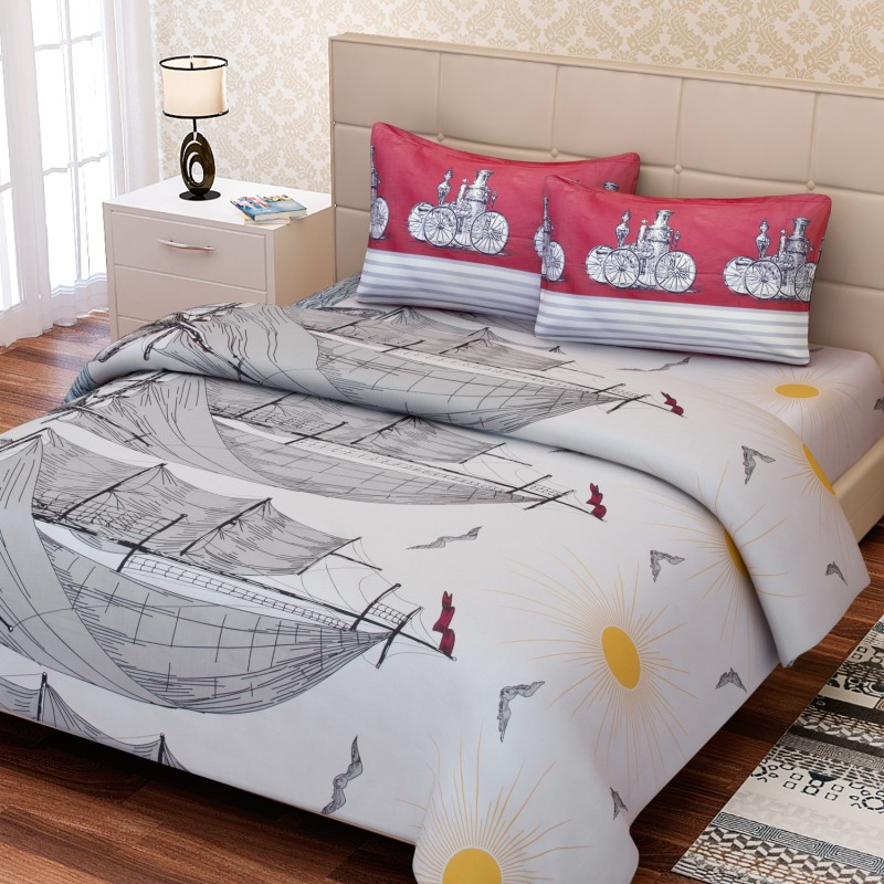 SEJ by Nisha Gupta 180 TC Cotton Double King Abstract Bedsheet(1 Bedsheet, 2 Pillow Covers, Red)