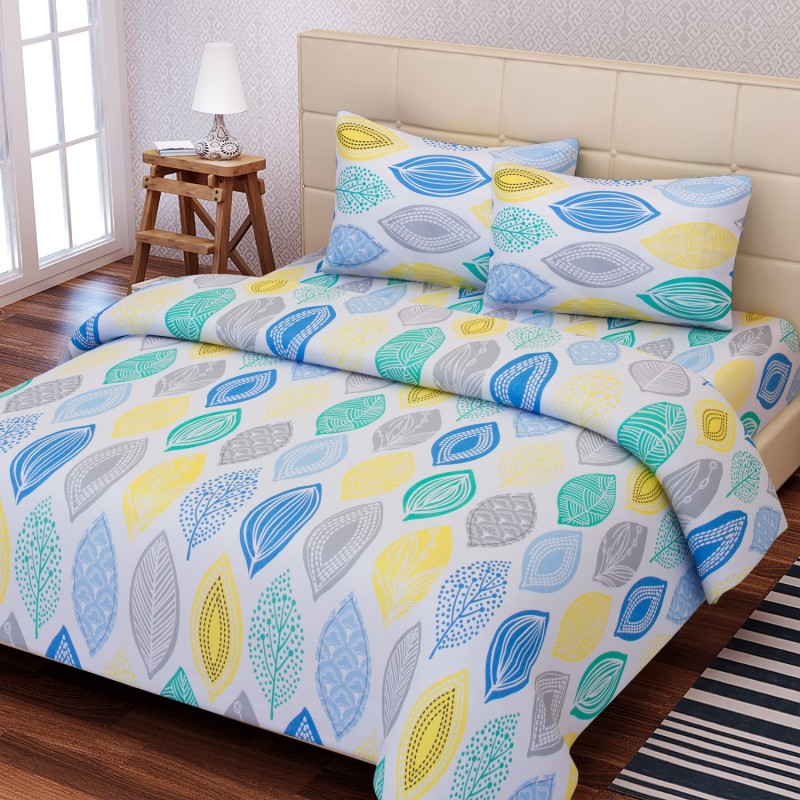 SEJ by Nisha Gupta 144 TC Cotton Double Abstract Bedsheet(1 Bedsheet, 2 Pillow Covers, Blue)