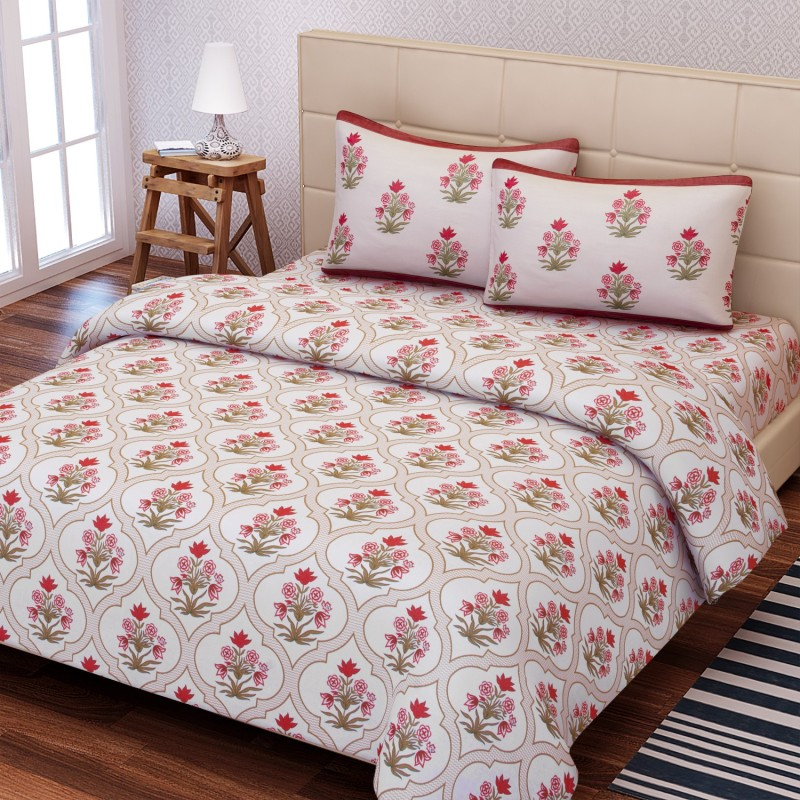 SEJ by Nisha Gupta 180 TC Cotton Double King Floral Bedsheet(1 Bedsheet, 2 Pillow Covers, Brown)