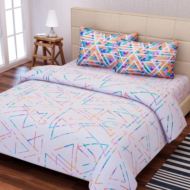 SEJ by Nisha Gupta 180 TC Cotton Double King Geometric Bedsheet(1 Bedsheet, 2 Pillow Covers, Blue)