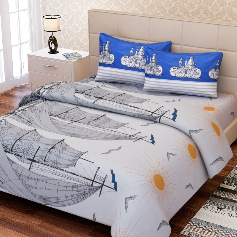 SEJ by Nisha Gupta 180 TC Cotton Double King Abstract Bedsheet(1 Bedsheet, 2 Pillow Covers, Blue)