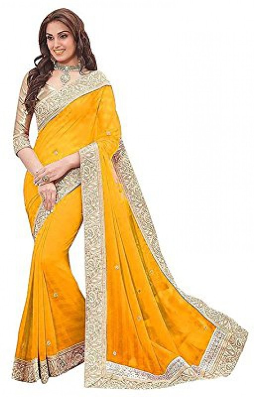 JK Creation Plain, Embellished Bollywood Georgette Saree(Yellow)