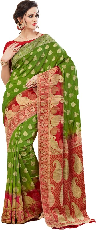 M.S.Retail Self Design Bollywood Silk Saree(Green, Red)