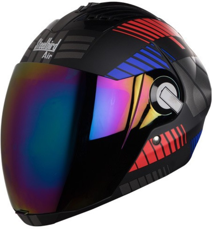Steelbird Yooshopper SBA-2 ROBOT Glossy Finish Motorbike Helmet(Black Red With Blue)