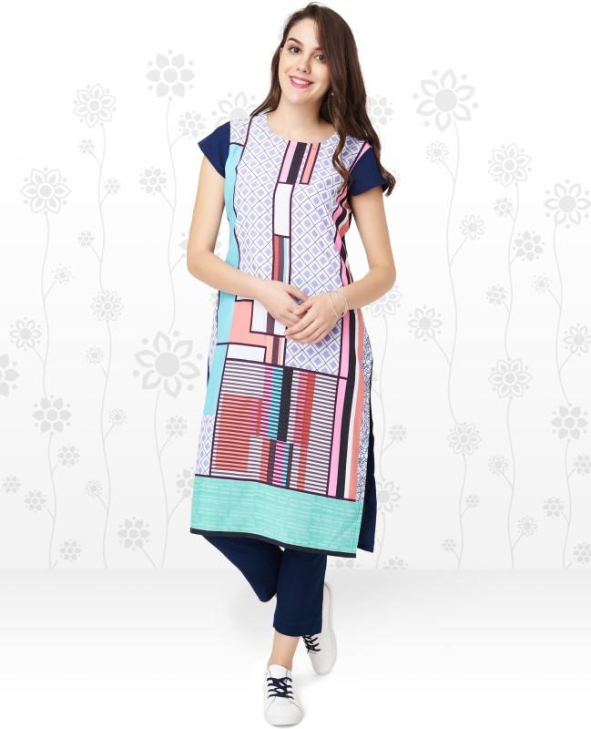 Anmi Printed, Geometric Print Women Straight Kurta(Multicolor)