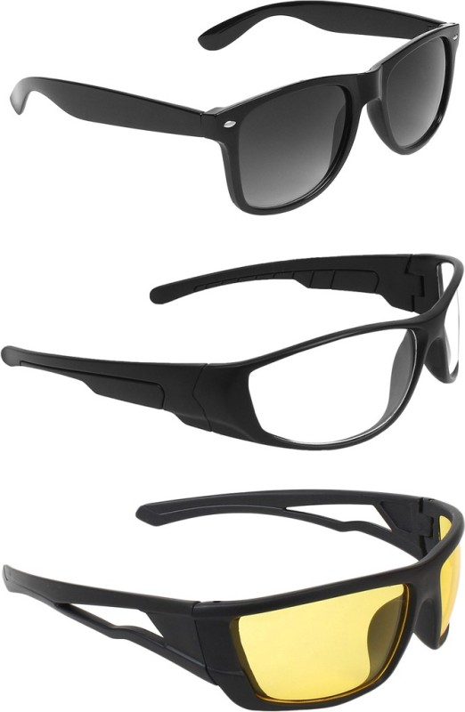 Abner Wayfarer, Wrap-around, Wrap-around Sunglasses(Black, Clear, Yellow)