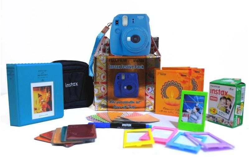 Fujifilm Instax Mini 9 Cobalt Blue Festive Pack Instant Camera(Blue) image