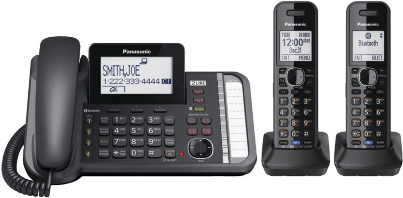 Panasonic KX-TG9582B Corded & Cordless Landline Phone with Answering Machine(Black)