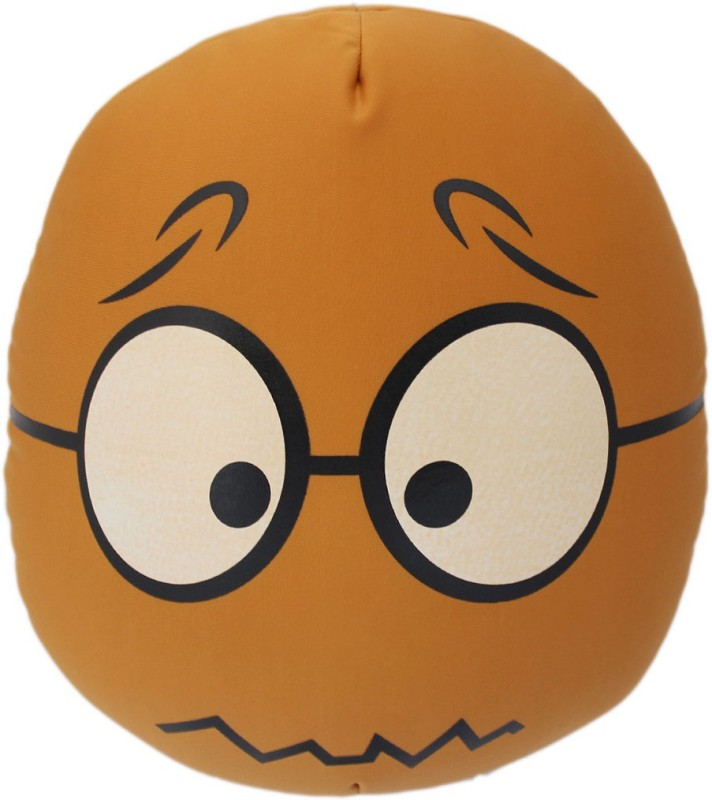 Tootpado Oval Shape Emoji Cushion 13x14(36cm) Throw Pillow(Brown)