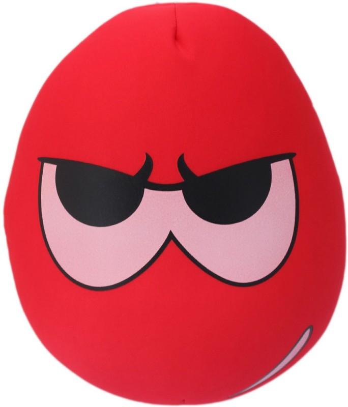 Tootpado Oval Shape Emoji Cushion 13x14(36cm) Throw Pillow(Red)