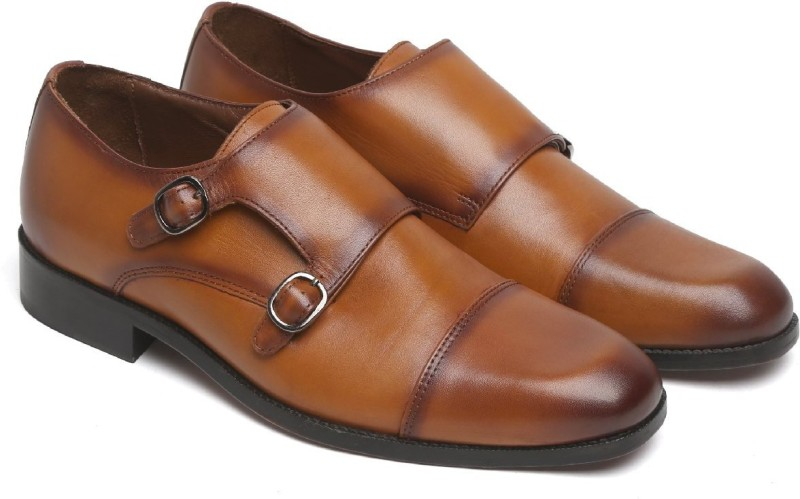 Brune TAN LEATHER DOUBLE MONK SHOES FOR MEN Monk Strap For Men(Tan)