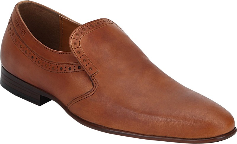 Red Tape Men Leather Brogue Slip On For Men(Tan)