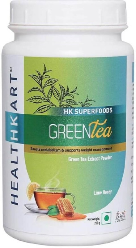 HealthKart Green Tea Powder - 200 g Lime, Honey Green Tea(200 g, Plastic Bottle)