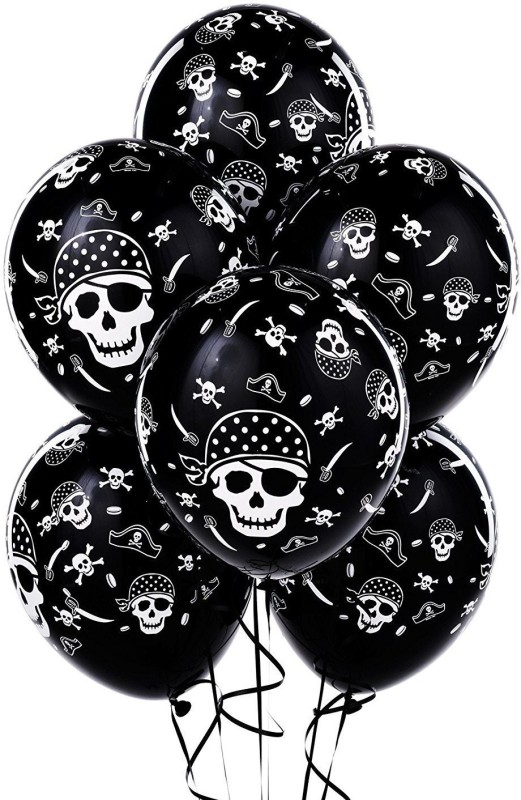 Shop Online Black Pirate Theme Party Toy Balloons (Pack of 30) - 1 ml