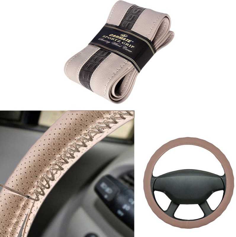 Car Mate Hand Stiched Steering Cover For Universal For Car Universal For Car(Beige, Leatherite)