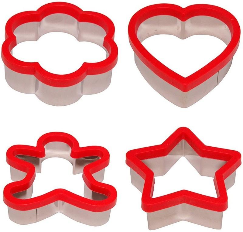 RIANZ Soft Grip Cookie Cutter Set of 4 - Ginger Bread Man Cookie Cutter, Heart Cookie Cutter, Star Cookie Cutter and Flower Cookie Cutter- 3 inch Cookie & Biscuit Press Pump(Manual)