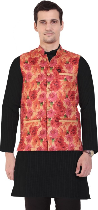 Vandnam Fabrics Sleeveless Floral Print Men Jacket