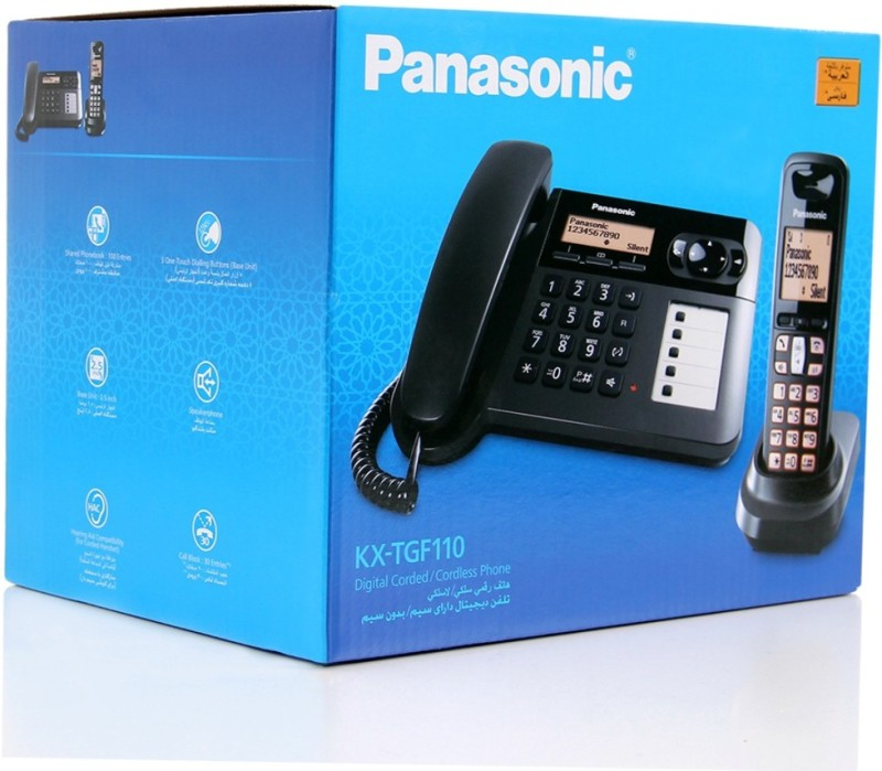 Panasonic KX-TGF110 Corded & Cordless Landline Phone(Black)