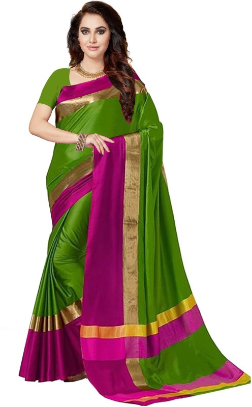 Ishin Solid Bollywood Art Silk Saree(Green)