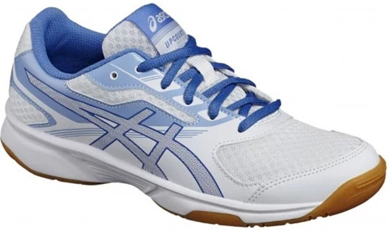 Asics Upcourt 2 Badminton Shoes For Women(White, Blue)