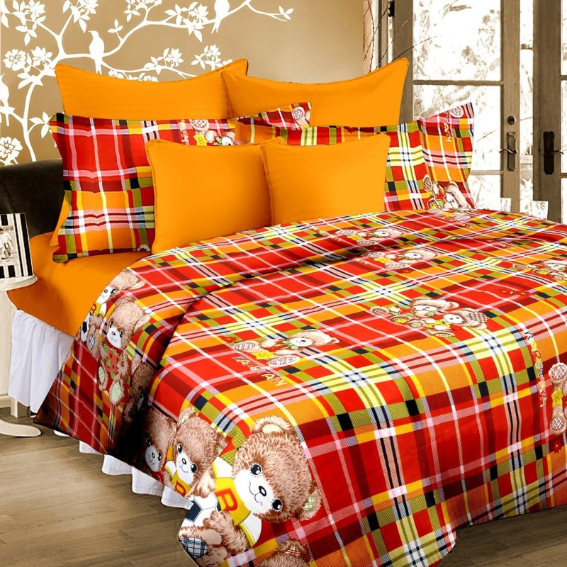 Cortina 120 TC Microfiber Double Floral Bedsheet(Pack of 1, Orange)