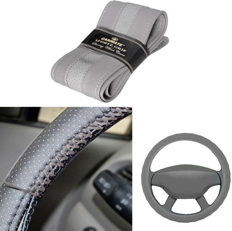 Car Mate Hand Stiched Steering Cover For Universal For Car Universal For Car(Grey, Leatherite)