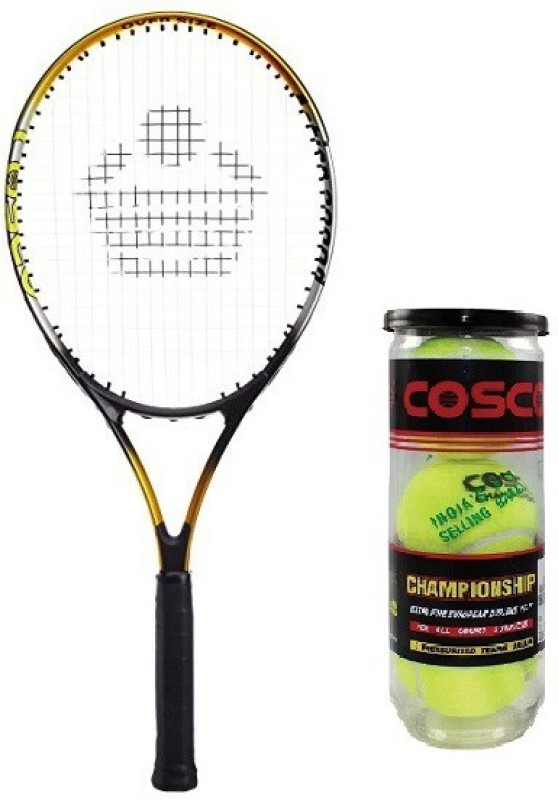 Cosco Combo of Two, One Action 2000D Tennis Racquet and One Championship Tennis Ball 1 box (pack of 3) Badminton Kit