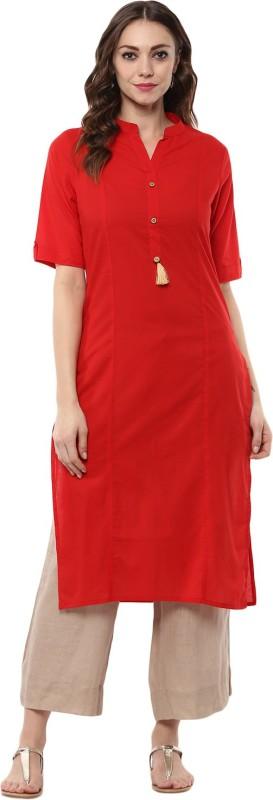 Krapal Solid Women A-line Kurta(Red)