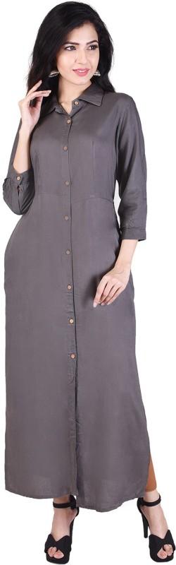Indiwest Casual Solid Women's Kurti(Grey)