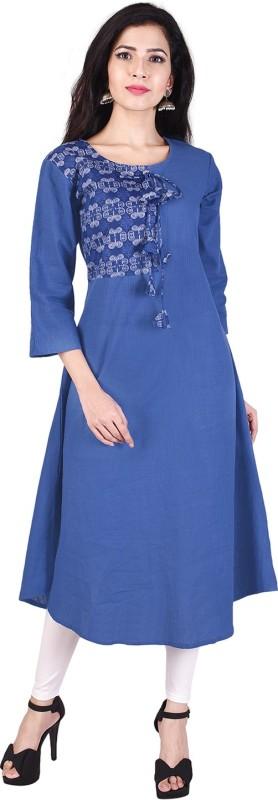 Indiwest Casual Solid Women's Kurti(Blue)