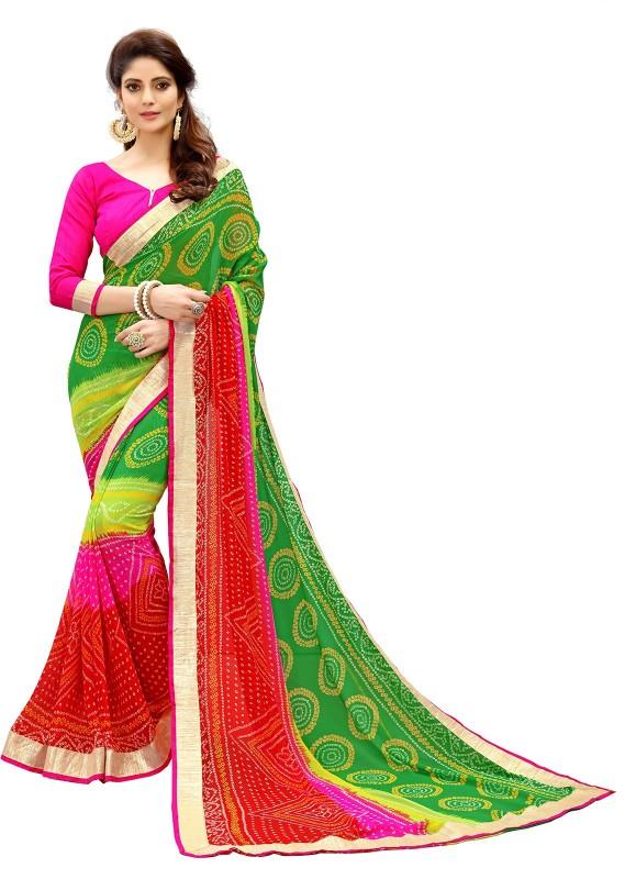 Fabland Printed Bandhani Georgette Saree(Multicolor)