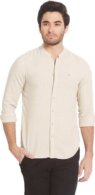 Spykar Mens Solid Casual Linen Beige Shirt