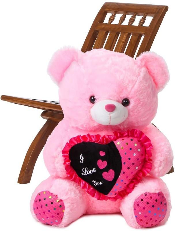 ToynJoy 2.5 Feet Cute & Beautiful Pink Teddy Bear holding 'I LOVE YOU' Heart - 75 cm(Pink)