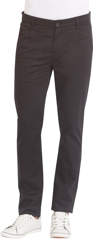 Spykar Slim Fit Mens Black Trousers