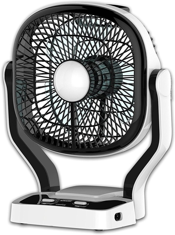 Sonashi Hi Speed Flow Mini Rechargeable 7 Inches with 22 LED lights, 4 - 5 hours backup during power cut, tilt function 3 Blade Table Fan(Black)