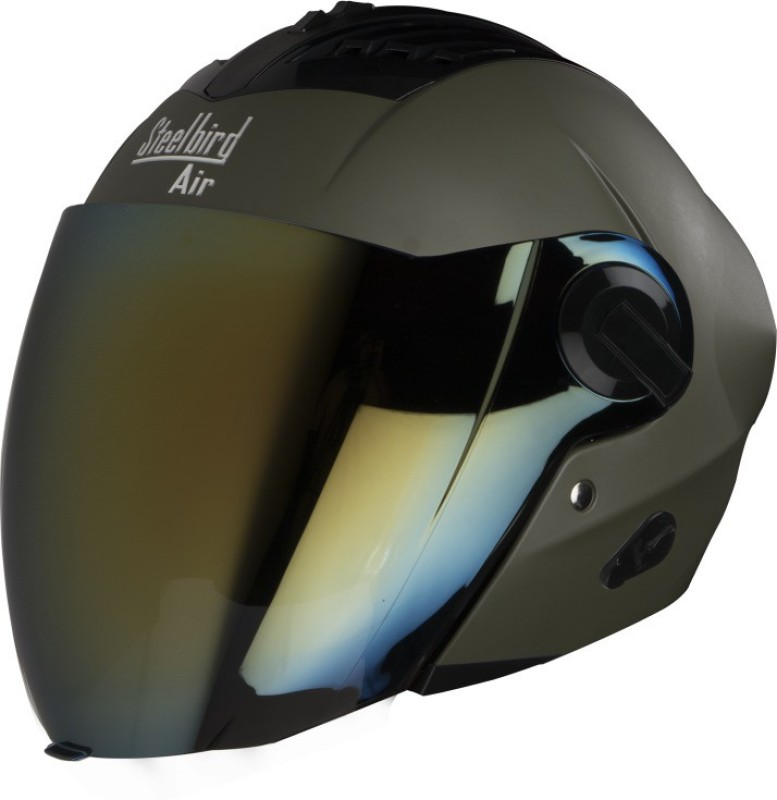 Steelbird SBA-3 Open face Motorbike Helmet(Green)