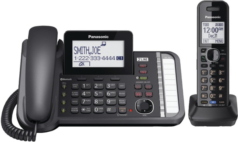 Panasonic KX-TG9581B Corded & Cordless Landline Phone with Answering Machine(Black)