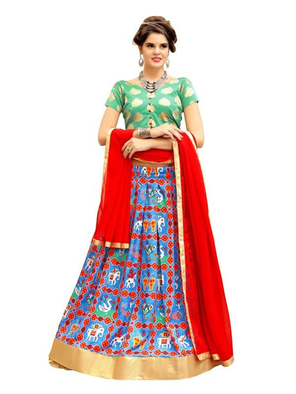 KMOZI Ikkat Semi Stitched Lehenga, Choli and Dupatta Set(Multicolor)