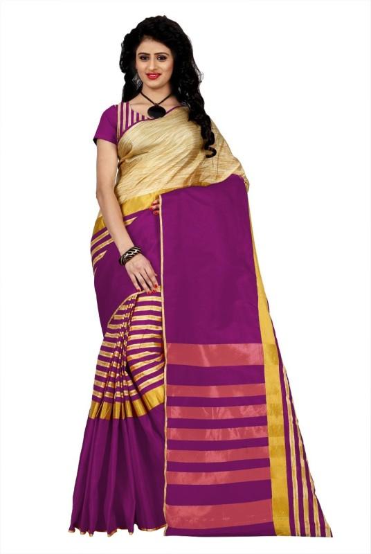 Trendz Style Striped Fashion Tussar Silk, Cotton Linen Blend Saree(Pink)