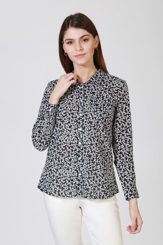Allen Solly Women Floral Print Casual Black, White Shirt