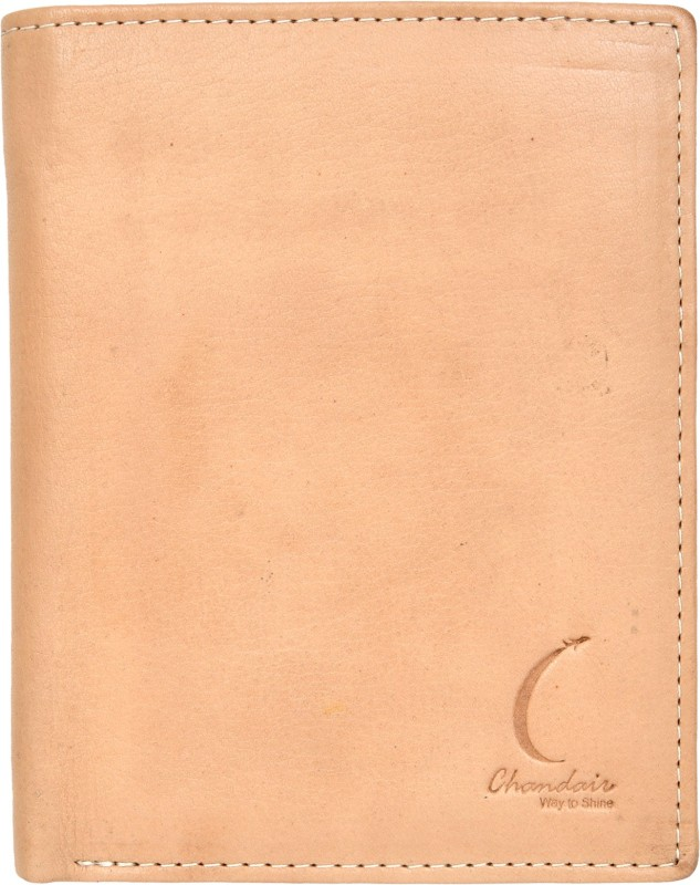 Chandair Men Beige Genuine Leather Wallet(7 Card Slots)